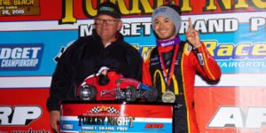 Larson Completes Cali Triple with Third Turkey Night Victory Lane Trot